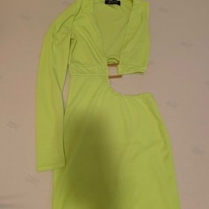 Neon yellow half sleeve, cut out dress